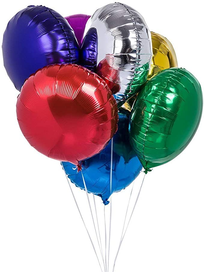 Happy Birthday Foil Balloon Round Mylar Helium Balloon Party Decoration Supplies Letter Balloons Decoration Ball 18 Inch Pack of 6