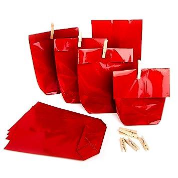 50 X Weihnachten Verpackung Papiertüte Rot 14 X 22 X 55 Cm