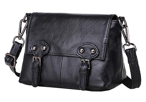 3ede1768e4 SAIERLONG Ladies Designer Womens Black Genuine Leather Cross Body Bags  Shoulder Bags