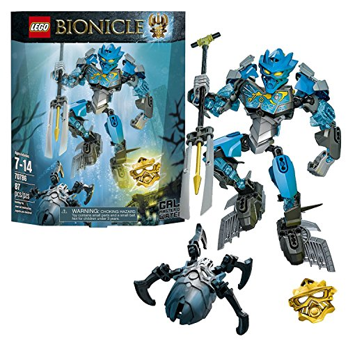 Lego Year 2015 Bionicle Series 8 Inch Tall Figure Set #70786 - GALI Master of Water with 2 BIONICLE Shells, Tribal Chest Decoration, 2 Shark Fins, Convertible Harpoon/Elemental Trident, Wheel-Operated Bashing Battle Arm Function Plus Golden Mask of Water and a Silver-Colored Skull Spider (Total Pieces: 87) (Master Tall)