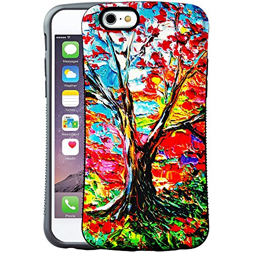 iPhone 6S Plus Case, Oil Painting Extreme Protection Cover with Tempered Glass Screen Protector for iPhone 6 Plus /6S Plus (Maple)
