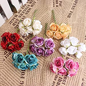 XGM GOU 60 PCS Small Roses Silk Flowers The Simulation Flowers Red False Manual 1 Wreathe Flowers Bouquets / 6 Parts 54