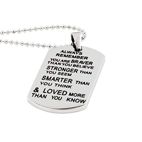 Amazon stainless steel inspirational necklace motivational tags stainless steel inspirational necklace motivational tags pendants birthday gifts for boys girls aloadofball Image collections