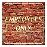 CGSignLab | ''Employees Only -Ghost Aged Brick'' Repositionable Opaque White 1st Surface Static-Cling Non-Adhesive Window Decal (5-Pack) | 16''x16''