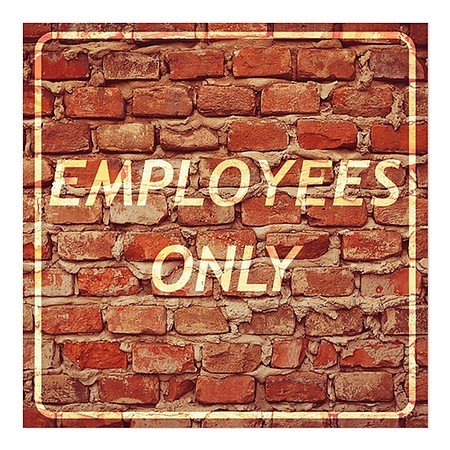 CGSignLab | ''Employees Only -Ghost Aged Brick'' Repositionable Opaque White 1st Surface Static-Cling Non-Adhesive Window Decal (5-Pack) | 16''x16'' by CGSignLab