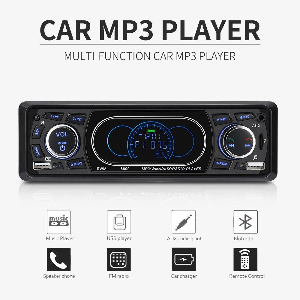 Excelvan 8809 Voiture Autoradio Lecteur MP3 Audio Sté ré o 1 DIN 4 Pouces FM Radio Bluetooth/Double USB/TF / AUX/FM / AM Mains Libres Appel avec Té lé commande, Affichage imitant Le Tableau de Bord