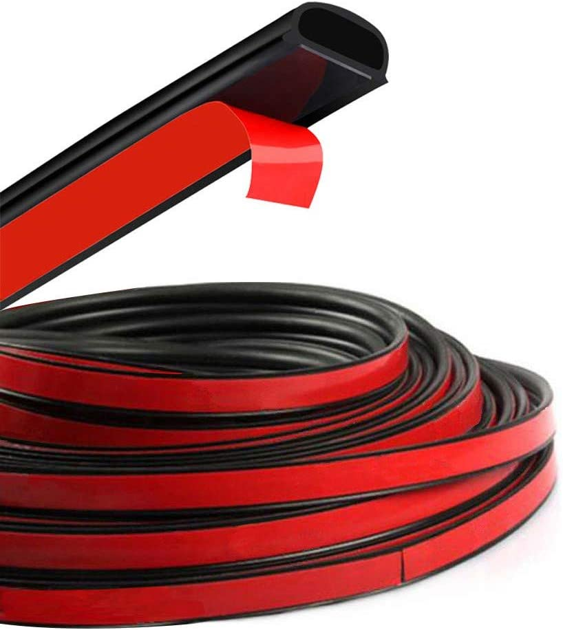 Black, 0.55 Inch Wide X 0.47 Inch Thick, 26.25 Feet Long Qlhshop Car Weather Strip D-Shape Door Rubber Seal Strip Weatherstrip for Auto Truck Motor Window Engine Cover Trunk Noise Insulation