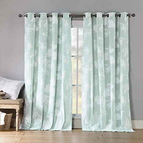 Kensie Aster Floral Cotton Blend Grommet Top Window Curtains For Living Room Bedroom Assorted Colors Set Of 2 Panels 54 X 84 Inch Icy Blue Home Kitchen