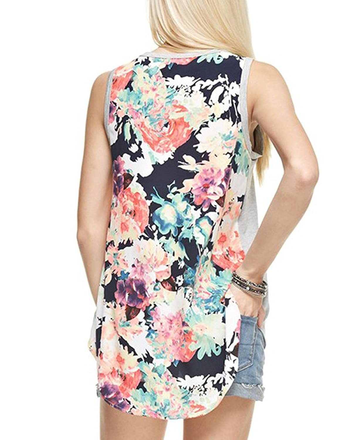 12PM by Mon Ami T7056 Ivory Floral Tank