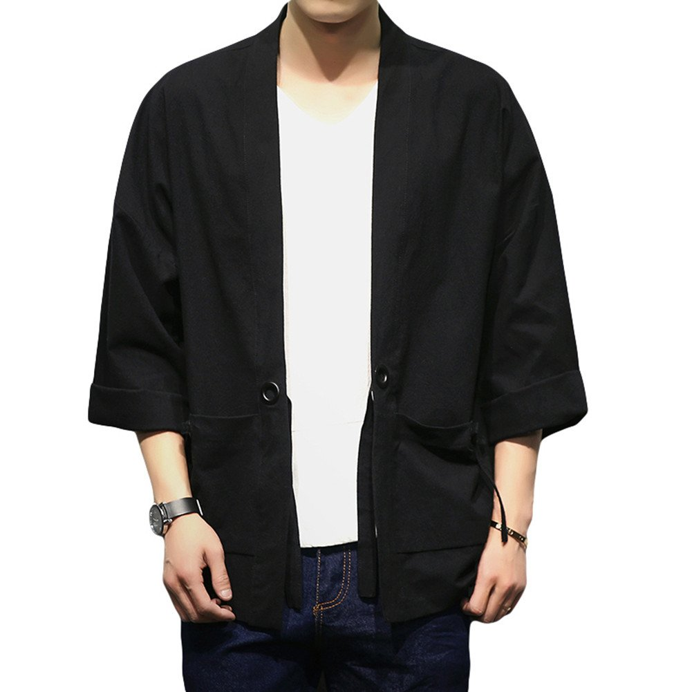 Mens Kimono Cardigan Jacket Yukata Coat Cotton Blends Linen Oversize (Asian size 5XL (chest 52.7''), black 1) by SEVEN O
