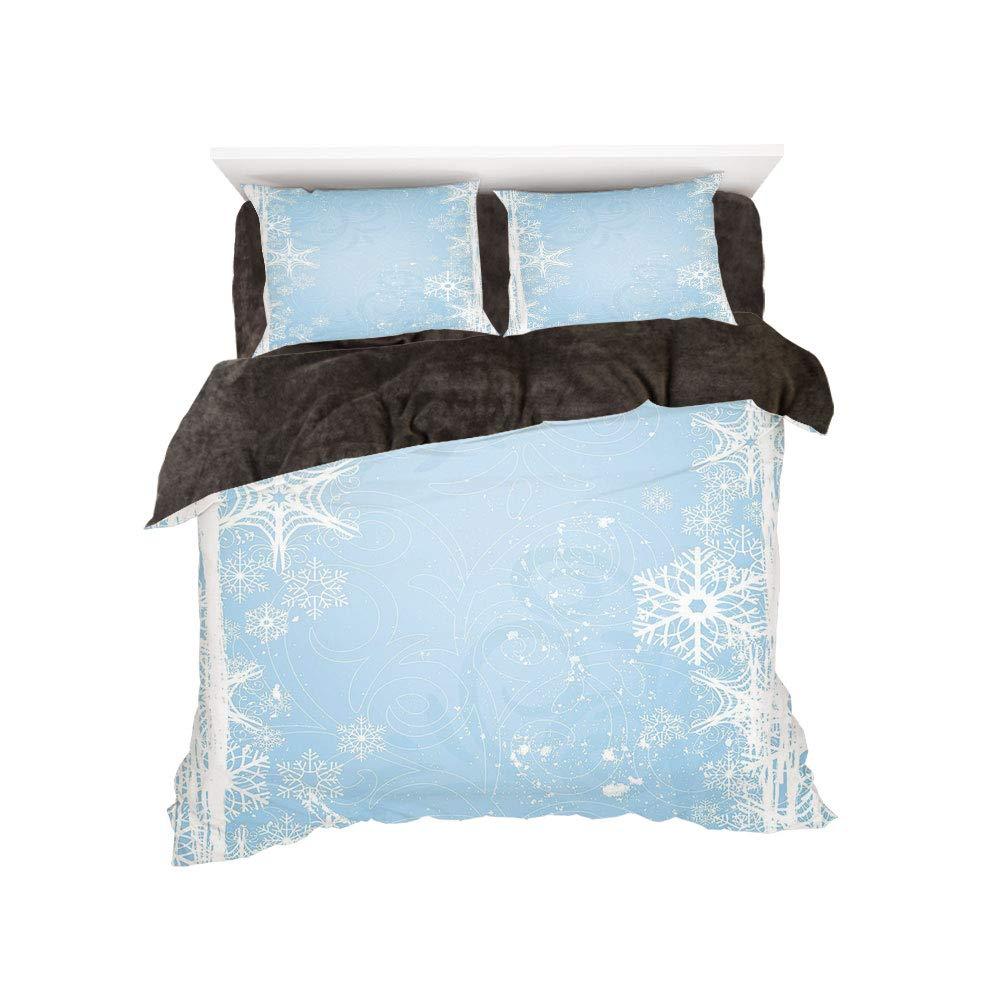 フランネル布団カバー4点セット ベッドリネン 冬休みパターン 冬装飾 森の景色 雪の路 木と太陽の間にプリント ブルー イエロー bed width 6ft(180cm) BotingFLR_hei_20439_king 180 bed width 6ft(180cm) カラー19 B07L1VRRBC
