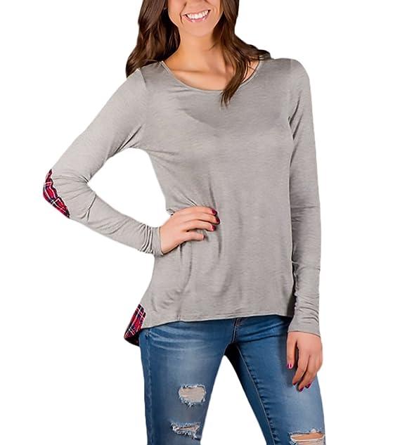 Las Mujeres Camisetas De Manga Larga Splice A Cuadros Blusa Elegante Otoño Fiesta Estilo Tops Asimetricas Blouse para Señoras Cuello Redondo Ropa T-Shirt ...