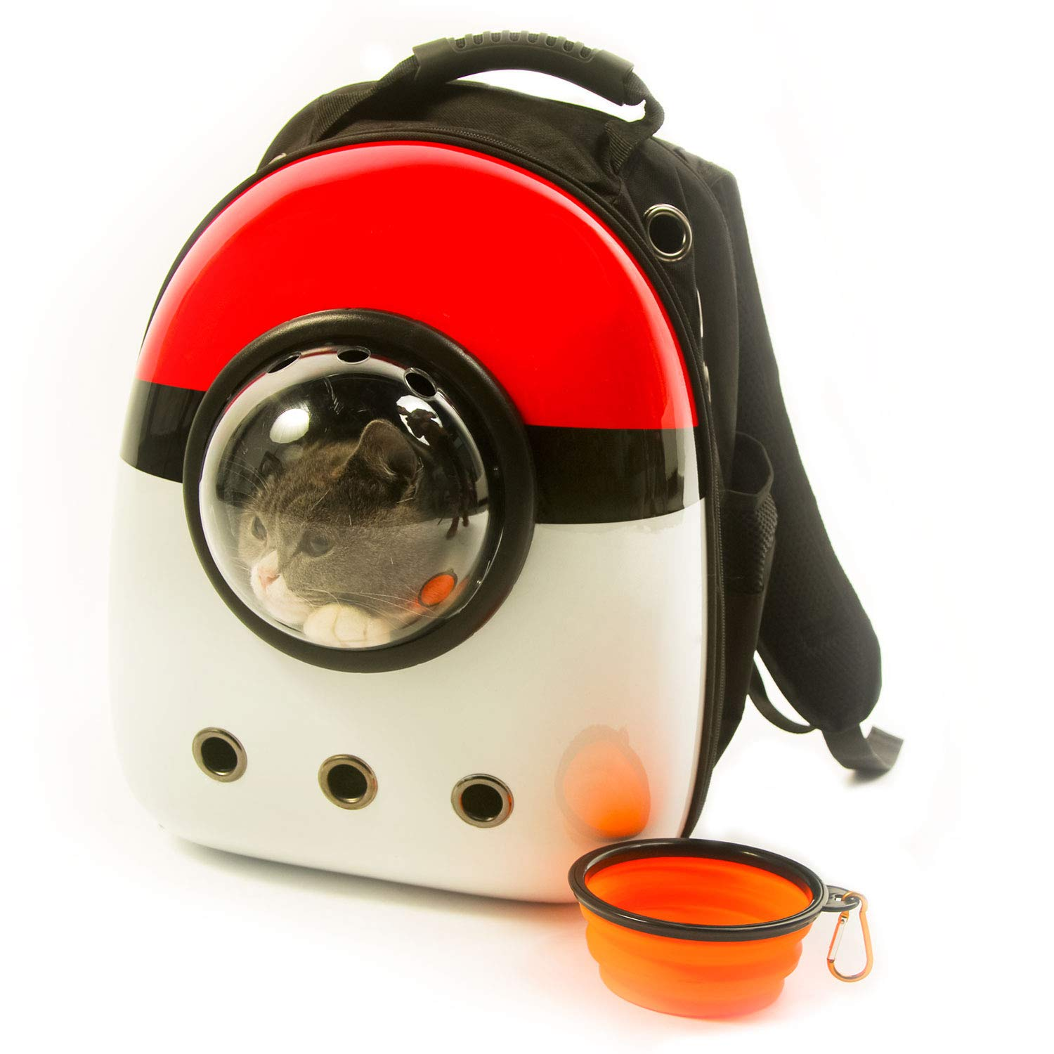 Xpect Cat Carrier Bubble Backpack Pet Travel Bag Small Dog Space Capsule Knapsack  Waterproof Breathable Red and White by Xpect (Image #1)