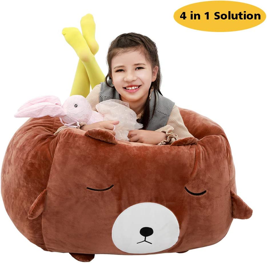 Fur Real Stuffed Animals, Amazon Com Bear Stuffed Animal Storage Bean Bag Chair Cover 24x24 Inch Velvet Extra Soft Plush Organization Replace Mesh Toy Hammock For Kids Toys Blankets Towels Clothes Household Supplies Brown Home Kitchen