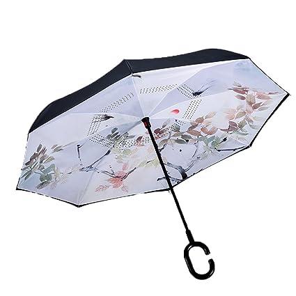 Shirleyle Pájaro y árbol Patrón de Paraguas al Revés Paraguas de Lluvia al Aire Libre Paraguas
