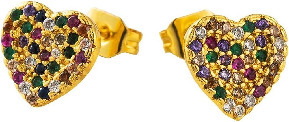 Pendientes Mujer Pendientes Ear Cuff Pendientes de cobre chapados en Rainbow Micro Pave CZ estudios pendientes de piedras preciosas de colores pendientes en forma de corazón temperamento