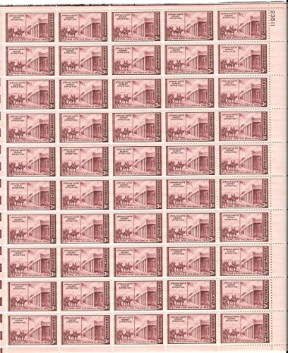 1946 Unused MNH OG Full Sheet (50) 3 Cent Scott Catalog #944 Kearney Expedition Entry into Santa Fe 1846-1946 100 Year Anniversary Mint Never Hinged Original Gum United States of America Post-World War II WWII WW2 Era Commemorative USA Postage Stamps