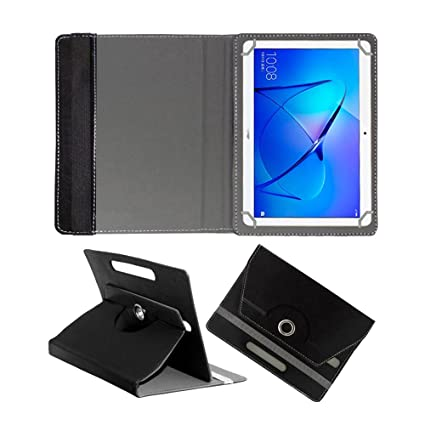 meet 88ef7 1c0c1 Fastway Rotating Leather Flip Case for Honor MediaPad T3 10 32 GB 9.6 inch  with Wi-Fi+4G Tablet Cover Stand Black