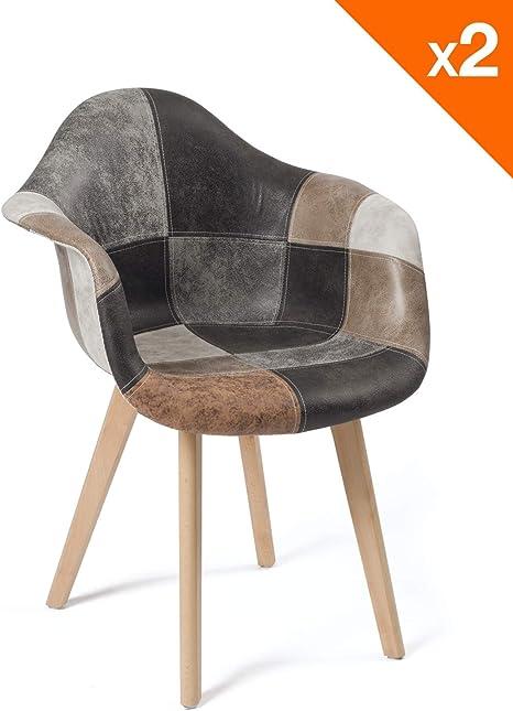 KAYELLES Lot de 2 chaises scandinaves Patchwork, Salle à Manger, Cuisine NEDA (Patchwork Marron)