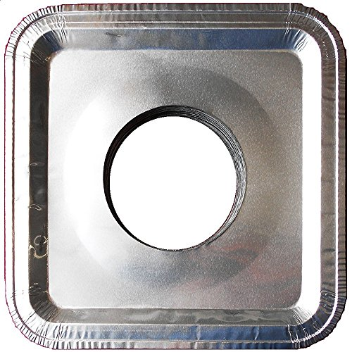 Top Grade Aluminum Foil Square Stove Burner Covers - Universal Size Disposable Bib Liners for Gas Burner (Pack of 16)