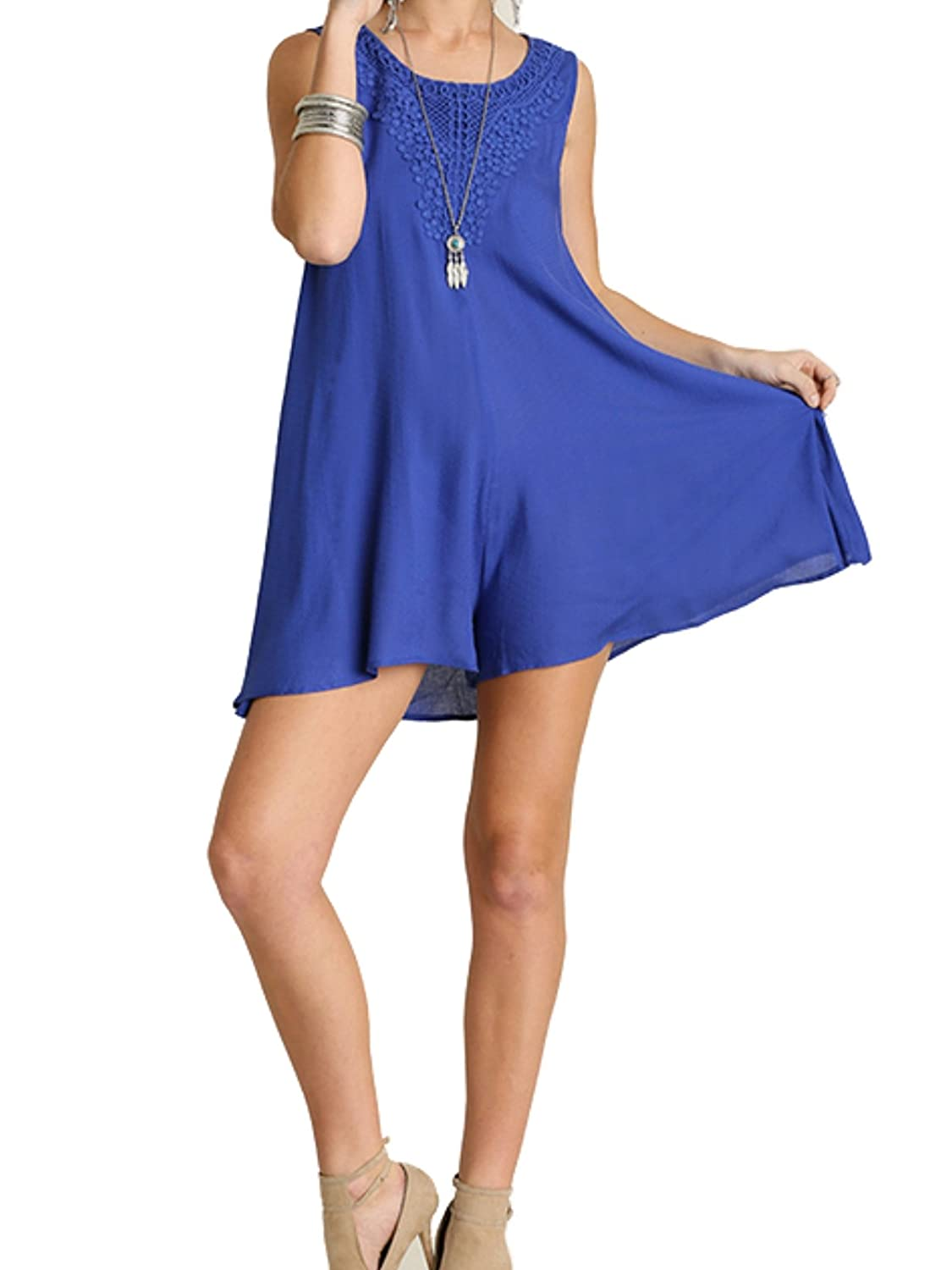 UMGEE USA Women's Sleeveless Romper with Lace Detail Cobalt