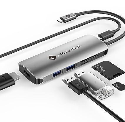 NOVOO 6 Puertos USB C Hub USB C PD 60W Carga de Energía Puerto, 4K HDMI Puerto, 2 USB 3.0 Puertos, SD/TF Lector de Tarjeta para Macbook/MacBook ...