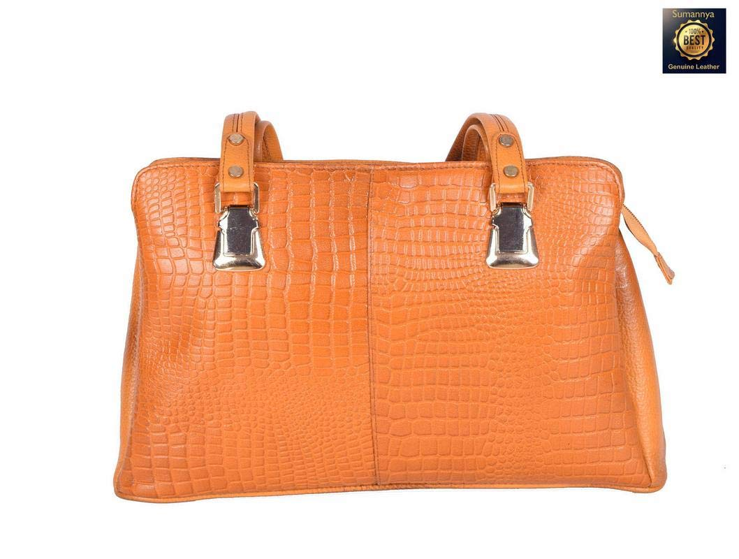 52a1dabb4941 Buy Sumannya Genuine Leather Yellow Ladies Handbag Online at Low Prices in  India - Amazon.in