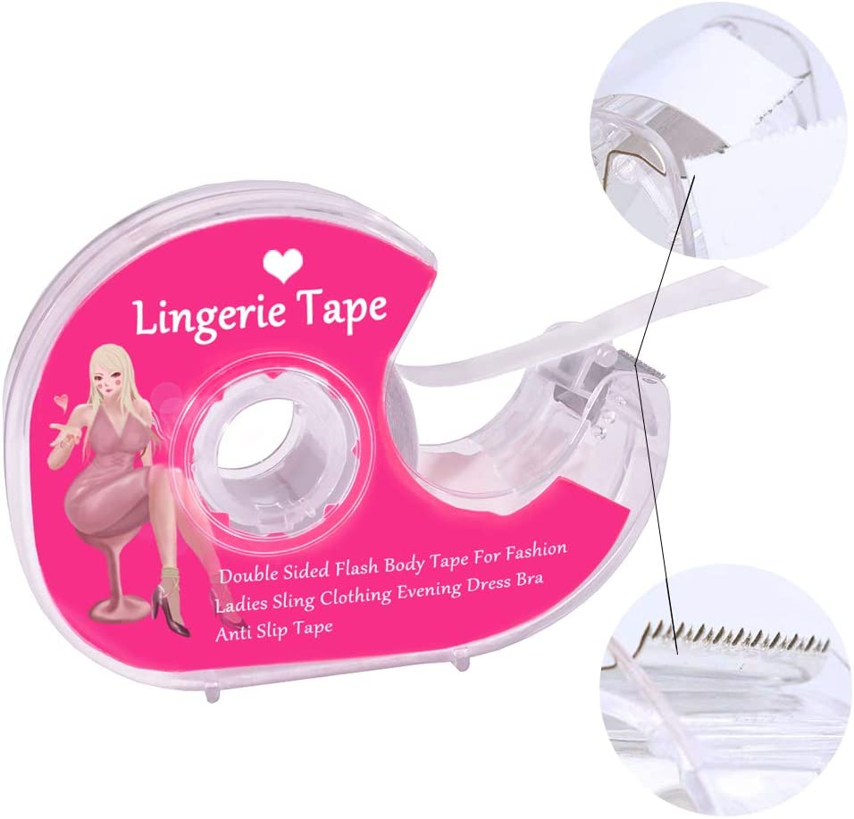 Transparent Tape for All Skin Tones Double Sided Boob Body Tape with Bra Straps Clip Clear Clothing Tape for Clothing /& Body All Day Strength /& Superior Adhesive Grip Yet Gentle on Skin /& Fabrics