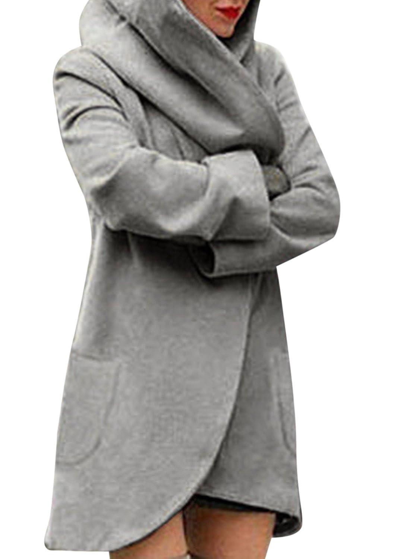 ACHICGIRL Women's Loose Fit Design Woolen Fashion Hooded Coat