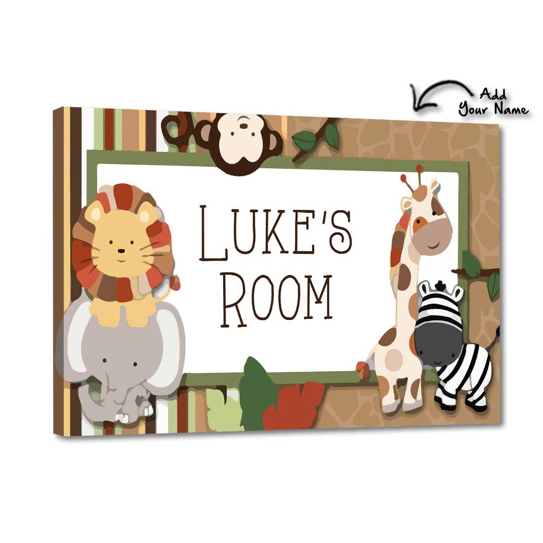 Little Boy Jungle 12x8 Screws Included Nutcase Personalized Kids Baby Room Door Sign//Name Plate//Wall Plaque
