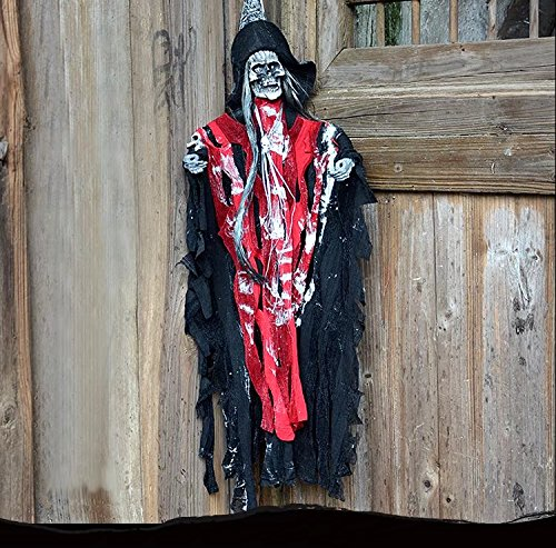 [AZOWA 27.5'' Animated Cool Scary Hanging Grim Reaper Skull Witch Ghost for Best Halloween Yard Decorations Prop (Red, 15.7'' X 27.5'')] (Cheap Halloween Animatronics)