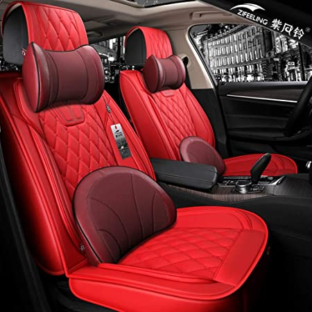 Deluxe Black PU Leather 2 Front Car Seat Covers Cushion Accessory For 5-Seat Car