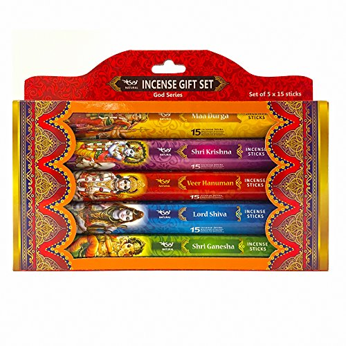 Esscents Home Spiritual Incense Gift Set - Set of 5 packs of 15 sticks ea. Natural fragrance represents a spiritual diety: Maa Durga, Shri Krishna, Veer Hanuman, Lord Shiva, Shri (Primo Incense)