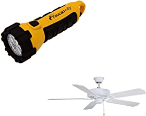 Toucan City LED Flashlight and FANIMATION Aire Decor 52 in. Matte White Ceiling Fan BP200MW1