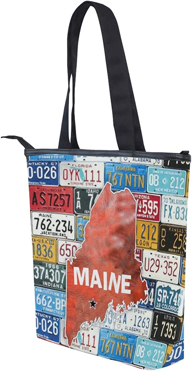 Maine State Of Usa W License Plate Canvas Top Handle Tote Bag Shoulder Bag Handbag for Women