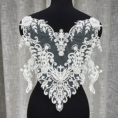 Stunning Wedding Appliques Special Sweet Heart Bridal Embroidery Lace Applique Beading Flower Patch Heavy Beads Decorative Addition Couture Design (Beadings Sweetheart Neckline)