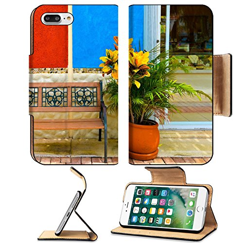 Luxlady Premium Apple iPhone 7 Plus Flip Pu Leather Wallet Case iPhone7 Plus 25298137 Flower wall and bench abstract street look (Prices Furniture Capri)