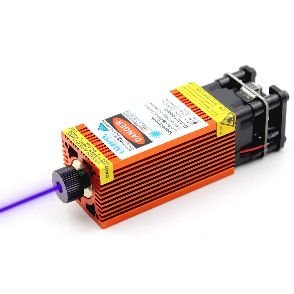 oxlasers 4W blue laser modules CNC laser head for DIY laser engraver 12V 4000mW focusable laser with PWM control (Orange Heatsink)