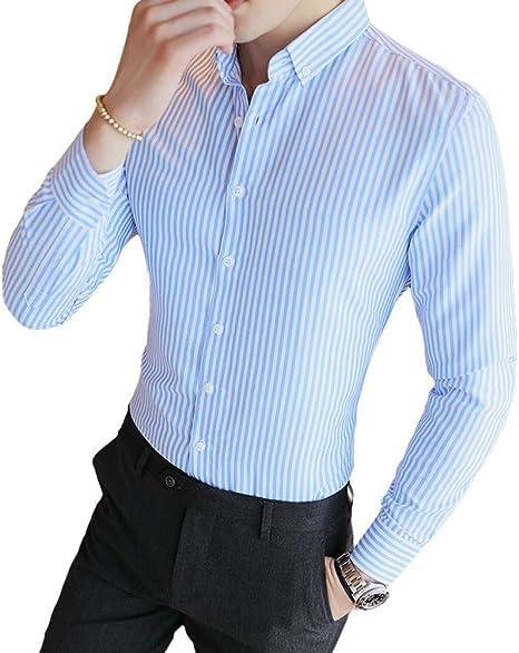 SBL Camisa de Manga Larga para Hombre, con Tendencia, Elegante Y Delgada, Camisa Casual a Rayas para Jóvenes Estudiantes de Hombres.: Amazon.es: Deportes y aire libre