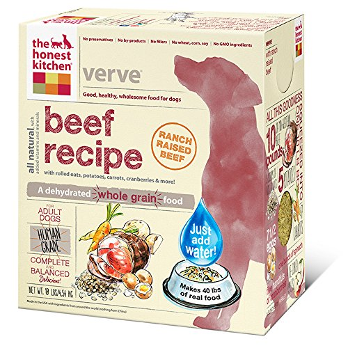 The Honest Kitchen Verve: Natural Human Grade Dehydrated Dog Food, Beef & Organic Grains, 10 lbs (Makes 40 lbs)