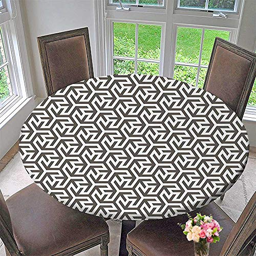 Mikihome Modern Simple Round Tablecloth Tribal Ancient Tattoos Like Design with White Borders Art Print White and Army Decoration Washable 67