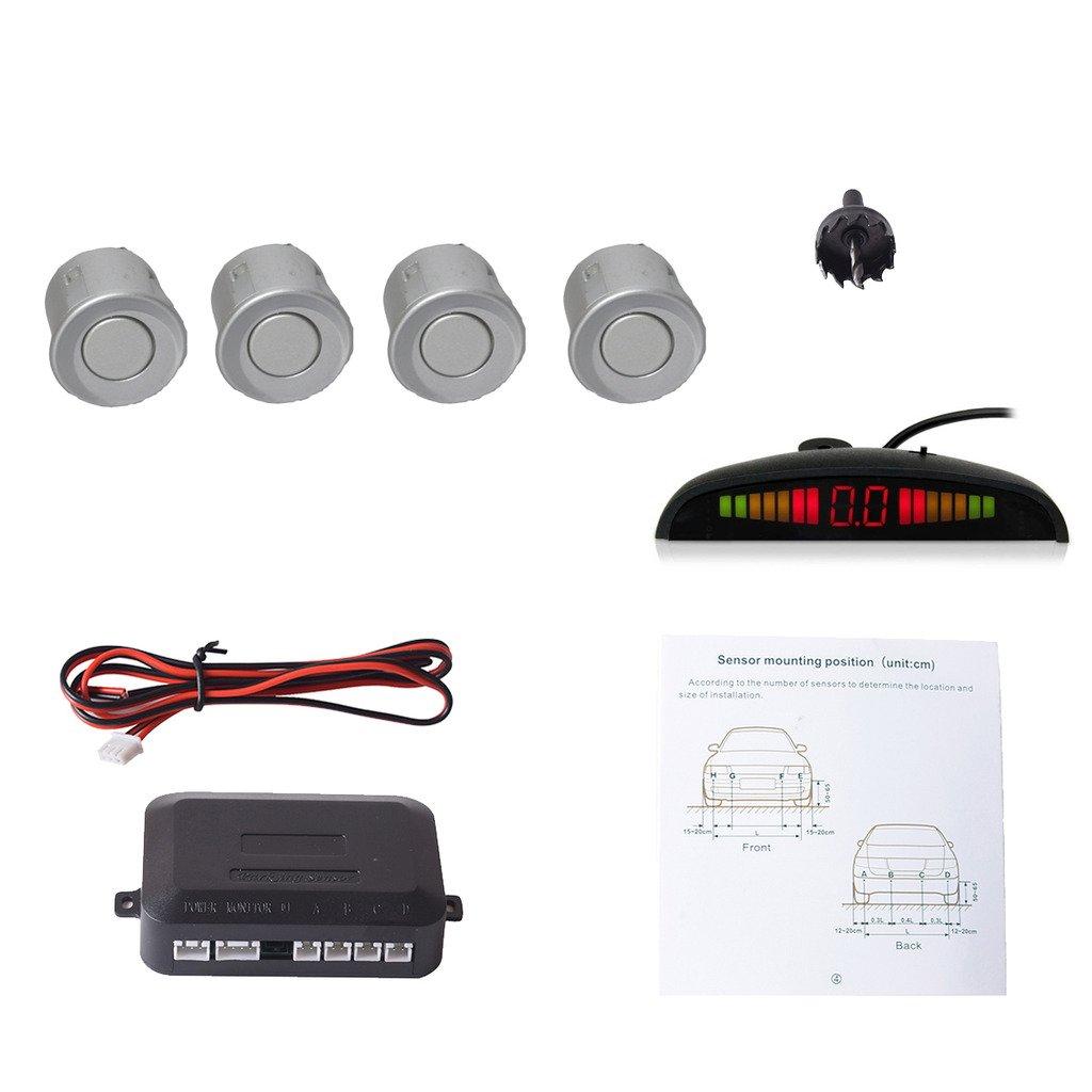 Cocar Rouge Voiture Radar de Recul LED Parking Beep & park Assist Système avec Distance Affichage Rétro Aide au Parcage + 4 Capteurs
