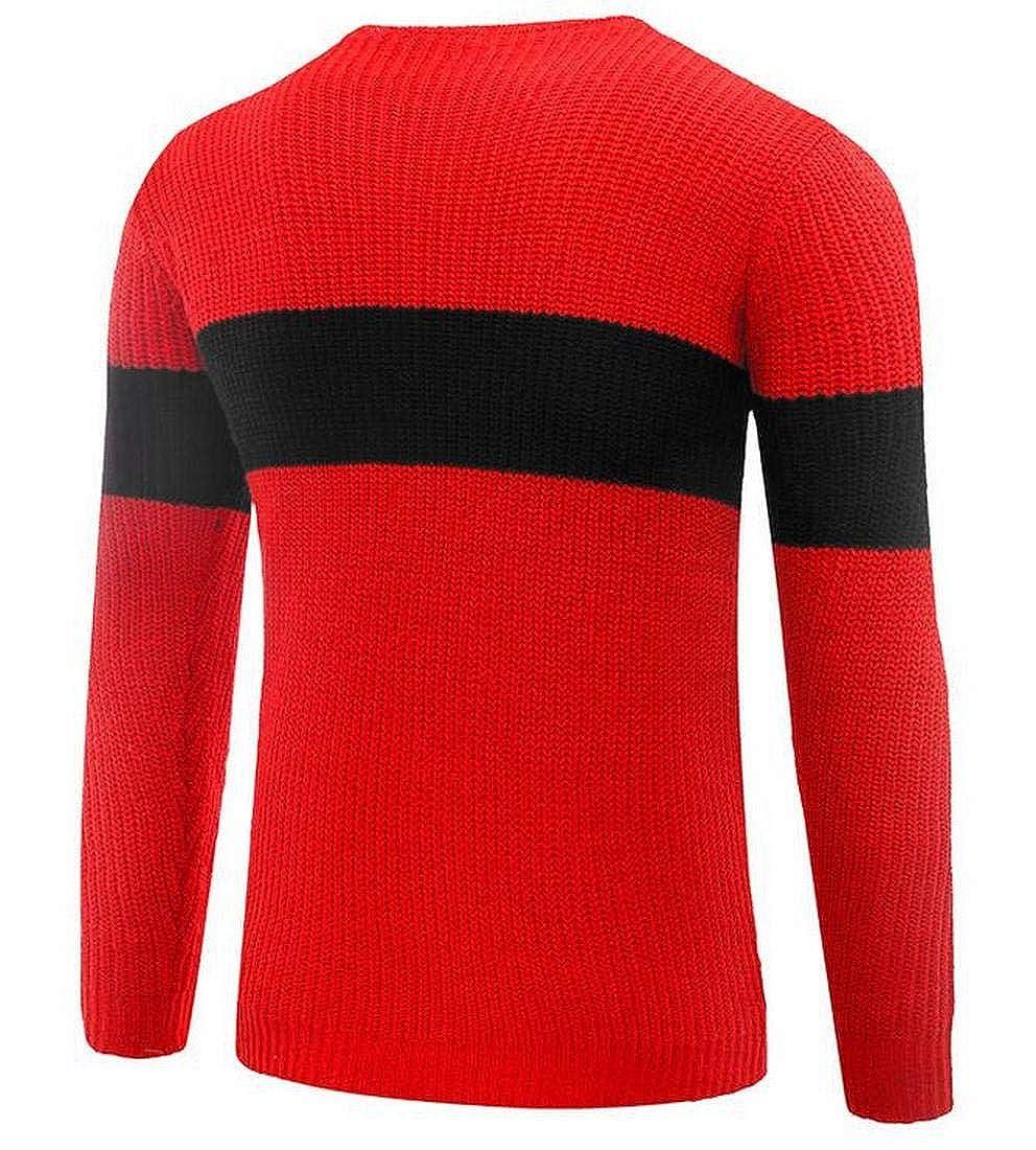 KLJR Men Striped Slim-Fit Crewneck Knitted Pullover Sweaters