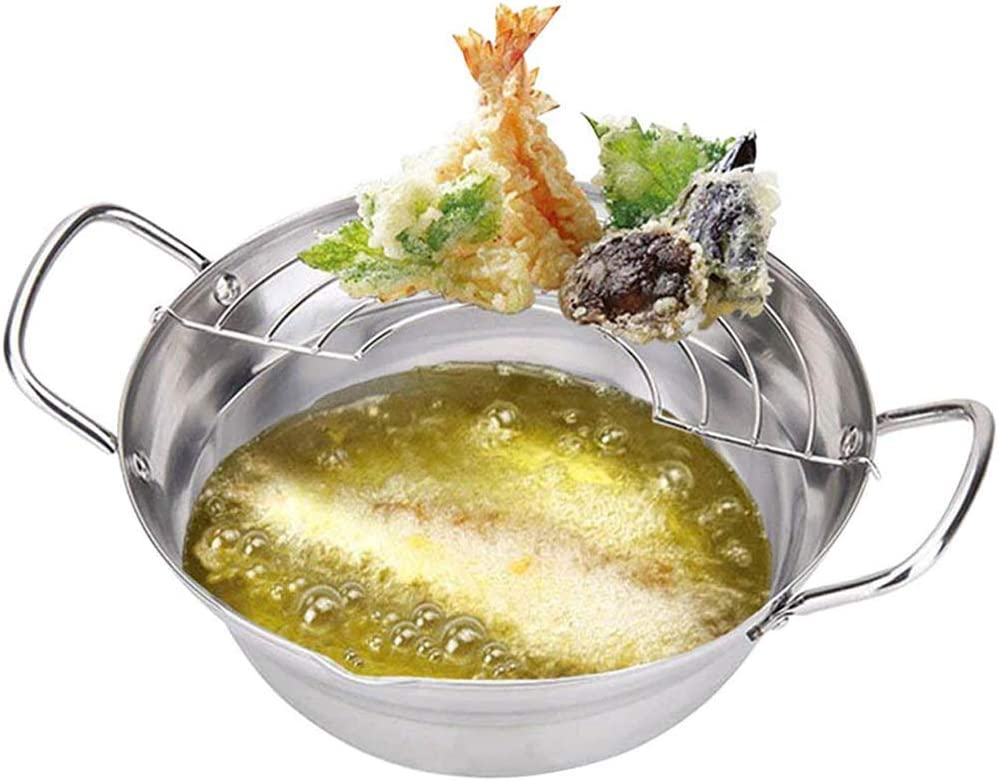 Tempura Fryer Pot Japanese Style Potable Frying Pots With Drainer Basket Household Cookware Kitchen Utensils