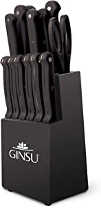 "Ginsu KIS-KB-DS-014-4 Kiso Dishwasher Safe 14 Piece Set Black Block, 9"" W x 15"" H x 5"" D"