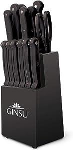 "Ginsu KIS-KB-DS-014-4 Kiso Dishwasher Safe 14 Piece Set Black Block, 9"" W x 15"" H x 5"" D"