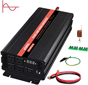 KRIPOL 1000 Watt Pure sine Wave Inverter 12v DC to 110v AC Car Power Inverter with 4 AC Outlets & 1 USB Output Power Battery Converter-Peak Power 2000W