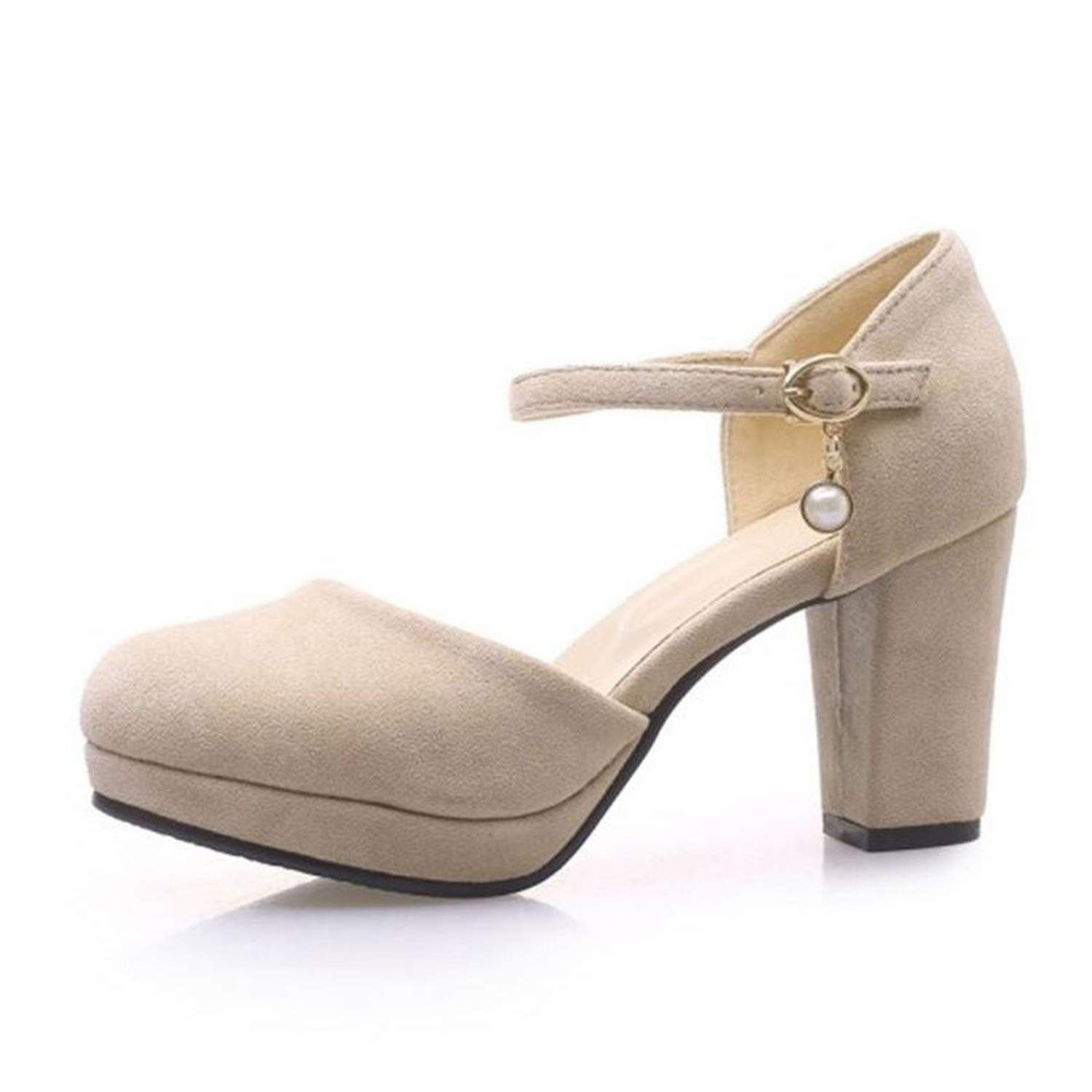 Concise Women Sandals Round Toe Solid Color Thick High Heels Ankle Strap Women Daily Outdoor