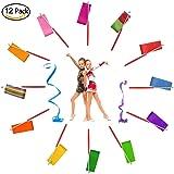 12 Pack Dance Ribbons Dancing Streamers with Rods-78 Inch Rhythmic Gymnastics Ribbon Streamer for Kids/Preschool Children/Women/Men-Silk Artistic Dancing and Baton Twirling