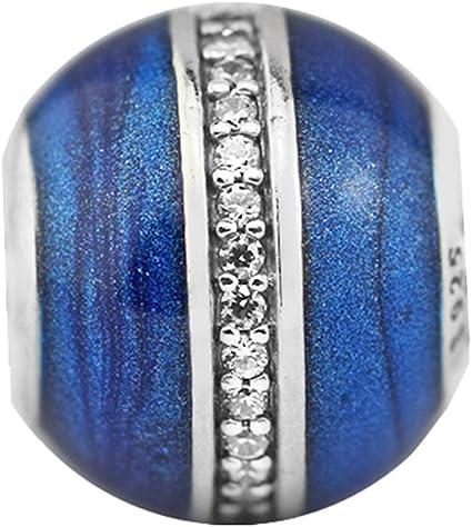Cooltaste Collection de Noël Bleu nuit Orbit Perles DIY Compatible avec  pour Original Pandora Bracelets Argent 925 Mode Charm Bijoux